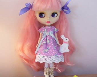 Sweet Lavender and Blue Dress for Blythe Dolls