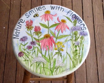 Hand Painted Furniture Garden Flowers 30 inch Bar Stool Nature