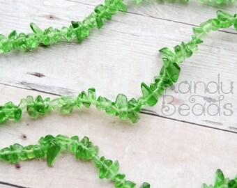 "Green Glass Small Chip Beads  5-10mm  LONG 34"" strand Looks like Sea glass"