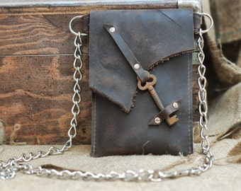 Brown Leather Hip Bag Belt Wallet - Skeleton Key Clasp Waist Wallet Pouch with Chain - Hipster Fanny Pack