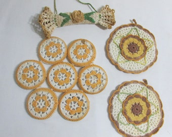 Mustard Yellow Retro Kitchen Decor Crocheted Potholders, Hot Pad and Wall Hanging Toy Rolling Pin