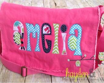 Applique Name Messenger Bag, Diaper Bag, Choose Your Fabric