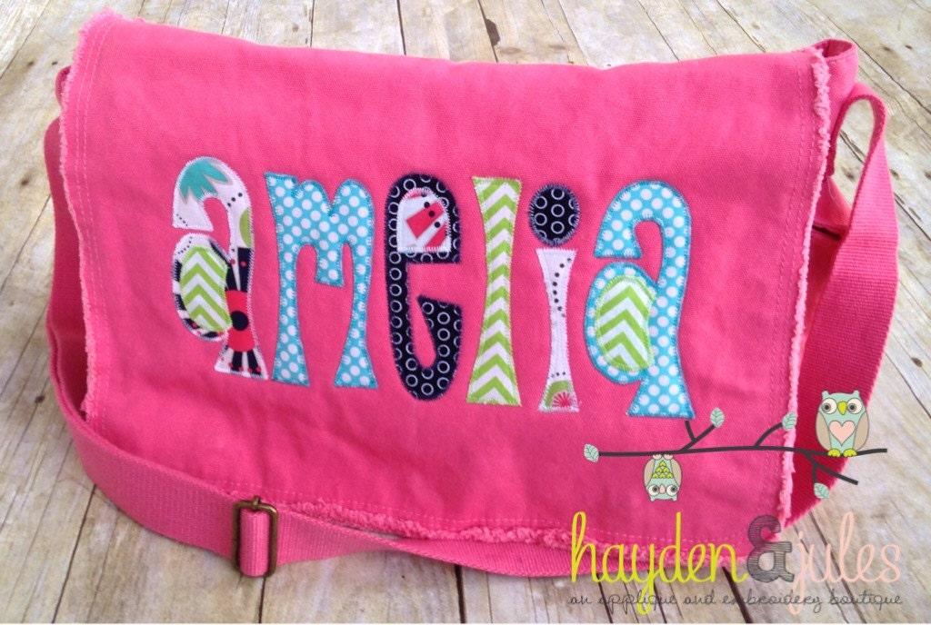 applique name messenger bag diaper bag choose your fabric. Black Bedroom Furniture Sets. Home Design Ideas