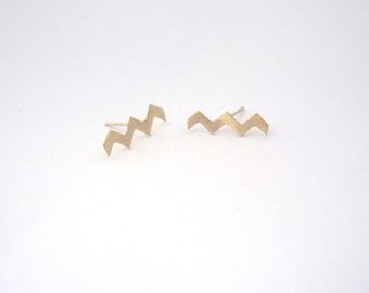 Zig Zag stripe studs,Chevron Ear studs,geometric stud earrings,Squiggle earrings,Wave earring 0143