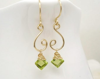 Gold peridot earrings, gold spiral earrings with lime green peridot gemstones, handmade 14kt gold filled jewelry