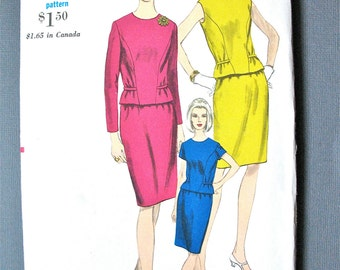 Uncut 60s Vogue 6813 misses two-piece dress pattern bias rolled belt jewel neckline front seam shaping  Bust 34 inches