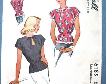 1940s Uncut McCall 6185 Vintage Sewing Blouse Pattern  Keyhole Neckline Printed Pattern Bust 31 inches