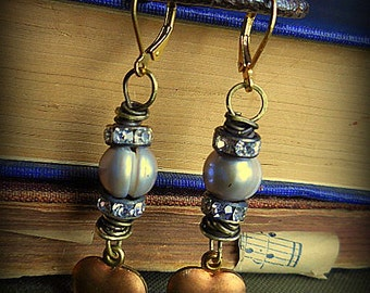Pearl & Rhinestone Brass Wrapped Vintage Heart Drop Earrings