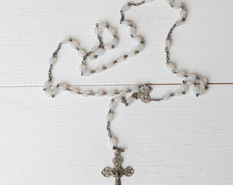 French Vintage white Religious Chaplet Rosary - silver and beads