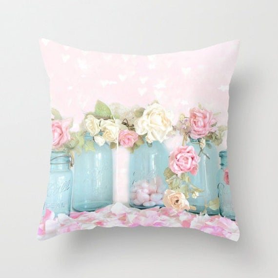 Pink Shabby Chic Throw Pillows : Dreamy Roses Throw Pillow Cover Shabby Chic Decor Pink Aqua