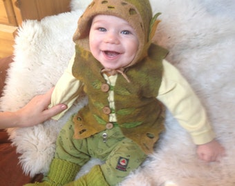 Merino wool baby vest and elf hat. Baby elf set. Leafy hat. Pixie elf woodland costume for baby