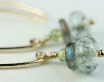 Handmade Gold filled ear wires with stack of gemstones-Moss Aquamarine-Labradorite-Peridot-open hoop earrings with dangle gemstones, art4ear