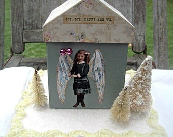 Winter angel house, OOAK altered house, snowy angel house, winter decor, Christmas decor OOAK gift Angel house collage, altered assemblage