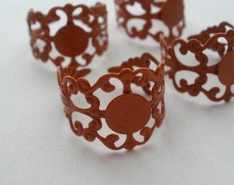 Brass Filigree Adjustable Ring Blanks Burnt Orange  (4)