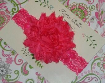 Shocking Pink Flower Headband, Silver Glitter Flower, Baby Headbands, Baby Hair Bows, Lace Headband, Baby Girl Headband, Hot Pink Headband