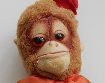 "Vintage CHARACTER 11"" Stuffed Plush Monkey All Original New Condition"