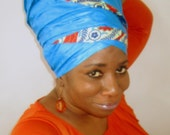 Royal Blue African Brocade Headwrap With Trim - Fashion Headwrap- African Inspired- Women Hair Covering- Choose a length - SKU: WWJ295