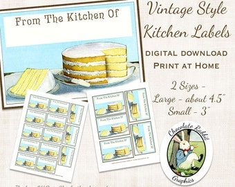 Baking Vintage Style Labels Digital Download Retro Printable DIY Clip Art Image Tag Scrapbook Collage Sheet From The Kitchen Of