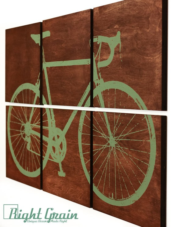 Road Bike Screen Print - Large Bicycle Wall Art - Custom Gift Idea