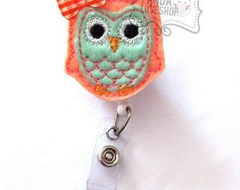 Orange and Mint Green Owl Badge Holder, Feltie Badge, Felt Badge Clip, Nurse Badge Reel, Retractable Badge, RN Badge