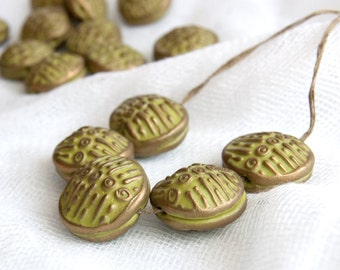 Artisan Hollow Embossed Green and Bronze Beads