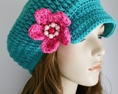SALE Newsboy Hat Womens Crochet Hat Brimmed Beanie with Bright Pink Crochet Flower Turquoise Blue Womens Accessories Spring Fashion