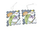 Hand Painted Whimsical Angel & Snowman Ornaments