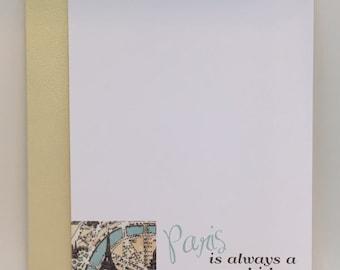 Paris is Always a Good Idea Cards III w. Pearlescent Envelopes A2 (set of 5). Audrey Hepburn Paris Quote Note Cards. Flat Paris cards