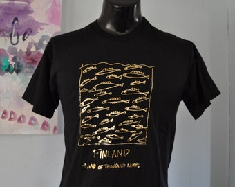 Vintage Finland Tshirt Land of Thousand Lakes Fish Nature Cool  Black Gold Tee MEDIUM