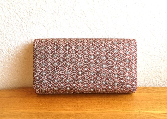 Vintage Japanese Kimono Clutch - Japanese Clutch - Bridal Clutch - Vintage Bag - Bridal Bag - Red Silver