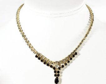 Vintage 1950s Black & White Rhinestone Necklace
