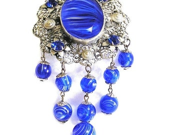 Large Cobalt Blue Swirled Glass Etruscean Revival Brooch