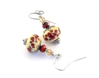 Red Dotted Lampwork Earrings - Swarovski Earrings - Silver Earrings - Antique Silver Earrings - Wire Earrings - Small Earrings - E012