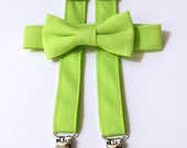 Lime Green Bowtie and Suspender Set - Infant, Toddler, Boy 2 weeks before shipping EASTER OUTFIT