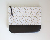 Fold Over Clutch, Holiday Clutch, Gold Foldover Clutch, Polka Dot Print Clutch