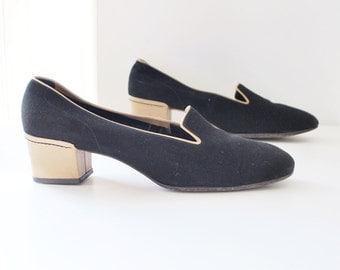 70s Amalbi by Rangoni made in Italy black suede slipper style low heel shoes - eur 38 us 7.5 uk 5