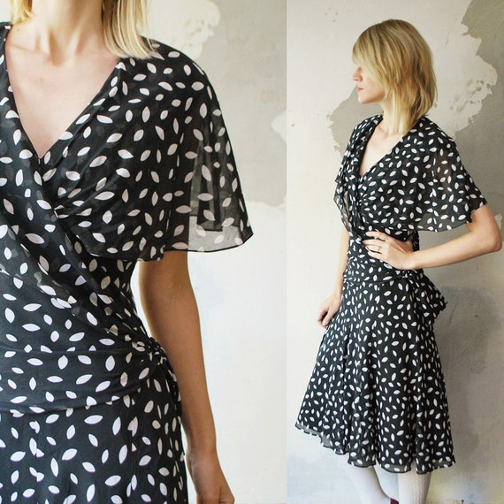 SALE...70s full polka dot dress. semi sheer capelet dress - small