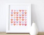 Hearts Wall Art, Love Print, Girl Decor, I Love You, Pink Heart, Purple, 8x10, 16x20, White Frame.  I Love You Print - Pink - Kids Wall Art