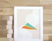 Paper Airplane Print, Kids Wall Art, Nursery Art Print for Baby Nursery Decor, Children Wall Art Orange Airplane. Paper Airplane Print