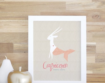 Capricorn Zodiac Sign Print for kids' Rooms and Baby Nurseries Art and Decor Capricorn Poster 8x10 16x20 White Frame. Capricorn Print