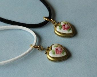 Vintage Guilloche Enamel Charms locket necklace.