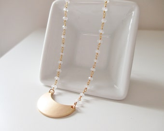 Snow White Necklace Beaded Moonstone Gemstone Necklace with Gold Crescent Moon