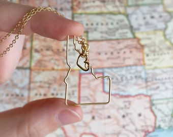 Idaho Necklace - Idaho State Love Necklace - Home State Jewelry - Personalized Gift - Idaho State - Silver or Gold Necklace