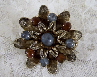 Vintage Flower Pin with Purple Brown and Blue Glass Beads, Silver Brooch, Something Blue, Estate Costume Wedding Bridal Jewelry