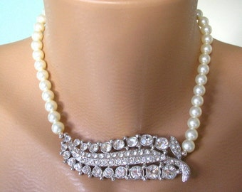 Pearl Necklace, Swarovski Elements, Mother of the Bride, Bridal Choker, Statement Necklace, Pearl Choker, Great Gatsby, Wedding, Rhinestones