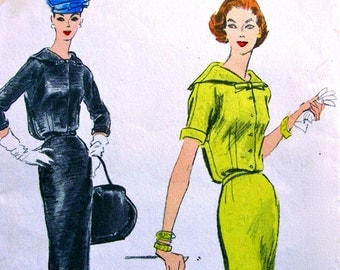 UNCUT 1950's VOGUE Pattern 8927 * BEAUTIFUL One Piece Dress with Slim Skirt w/ Back Panel  * Size 14..bust 34