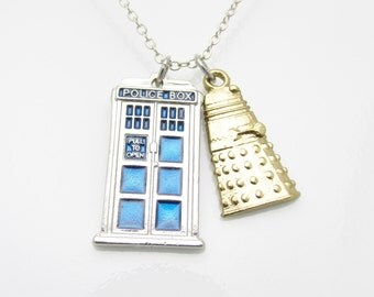 Tardis Necklace with Dalek Charm, Doctor Who Jewelry Fan Art, Tardis and Gold Dalek Charm Necklace, Police Call Box Necklace A017
