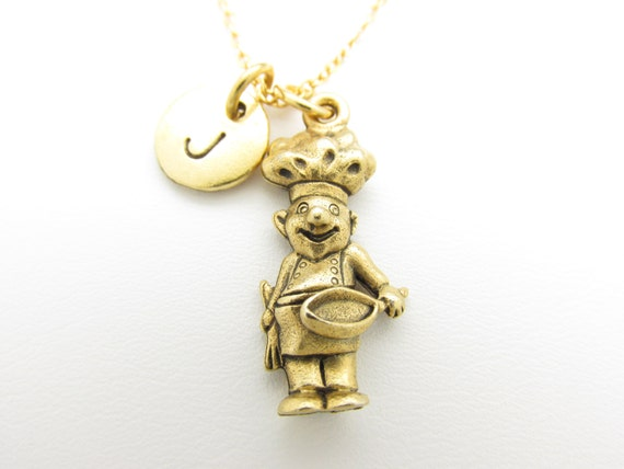 chef necklace chef charm personalized initial by