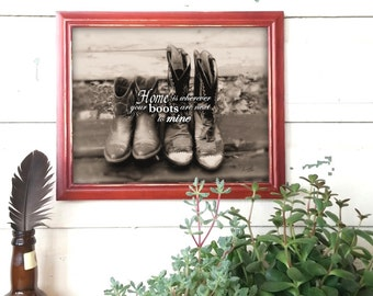 cowboy boots photo, wedding gift, country western, home decor, cowboy cowgirl, rustic love, housewarming gift, engagement gift, rustic home