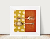 Fork and Spoon Fine Art Print Home Decor Kitchen Polka Dots Mustard Yellow Orange Vintage Antique Silverware Dining Room Cafe Wholesale